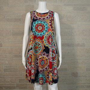 Bellamie Trapeze Swing Shift Pocket Dress Boho M